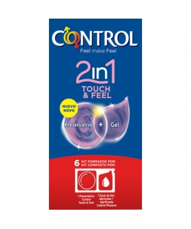 Preservativos control 2in1 touch & feel + lube 6uds