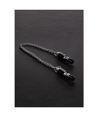 Barrel tit clamps with chain (pair)